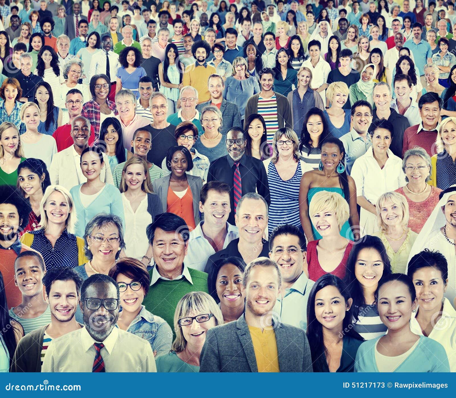 Grote Groep Divers Multi-etnisch Vrolijk Mensenconcept