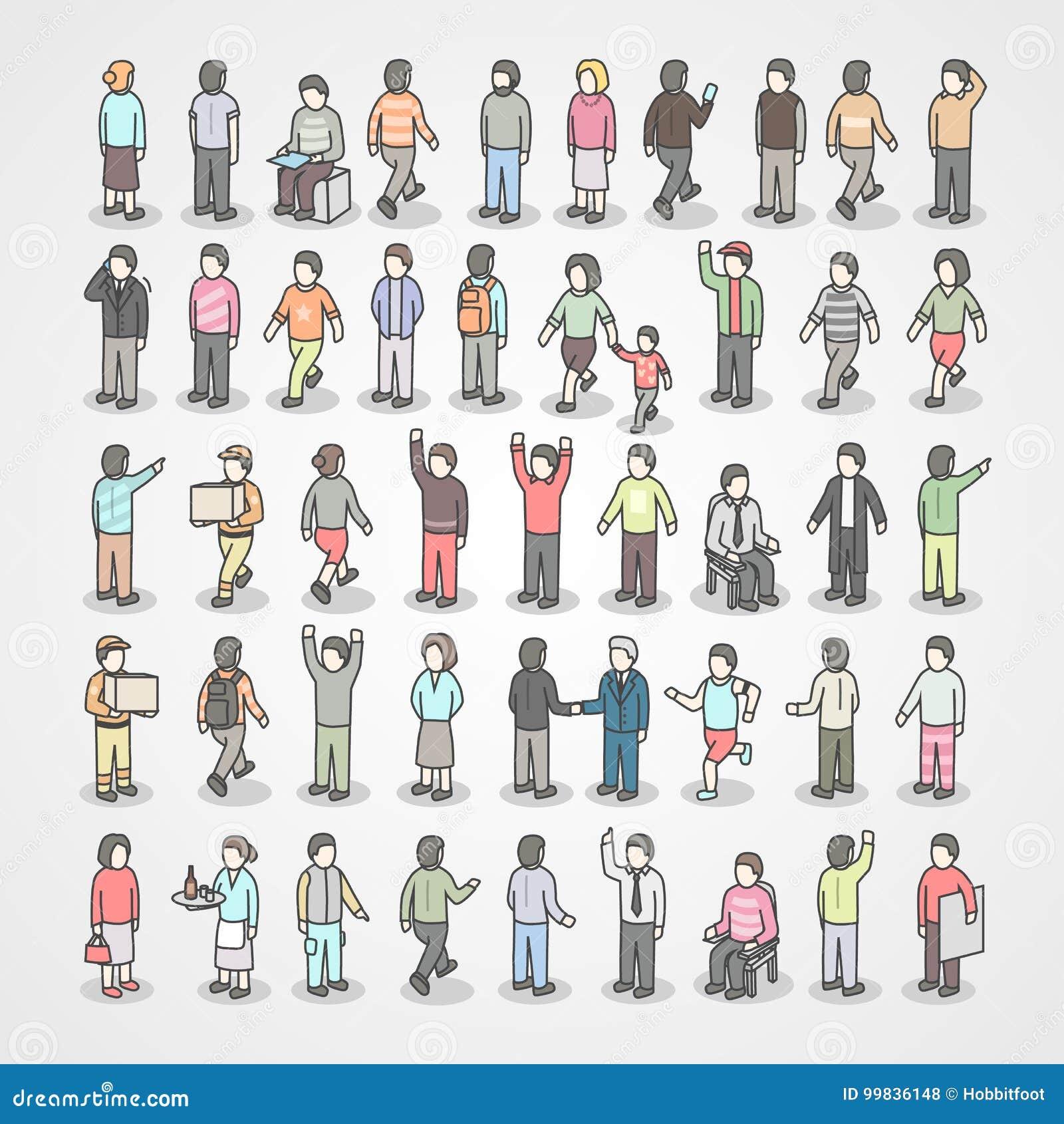 Grote inzameling van verschillende mensen De reeks van stelt