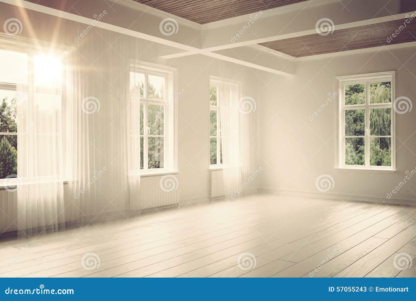 Grote lege ruime heldere witte zolderruimte