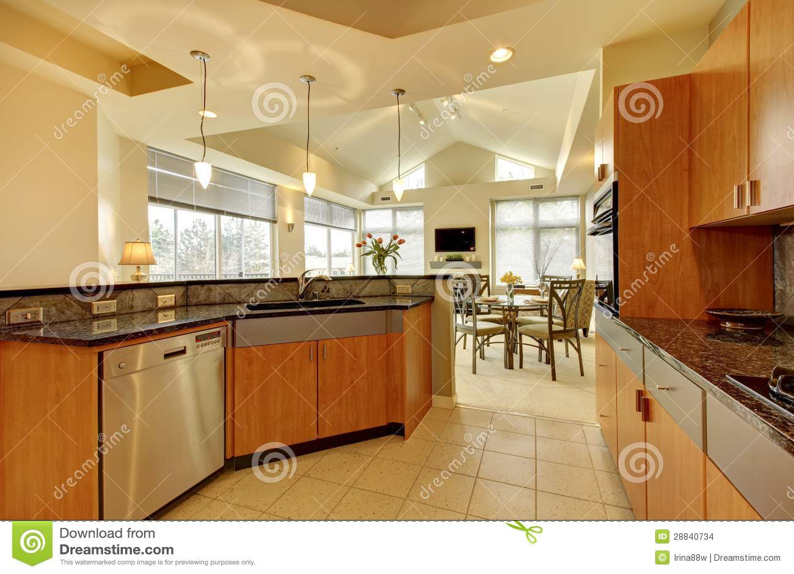 Grote moderne houten keuken met woonkamer en hoog plafond stock foto afbeelding 28840734 - Moderne keuken en woonkamer ...