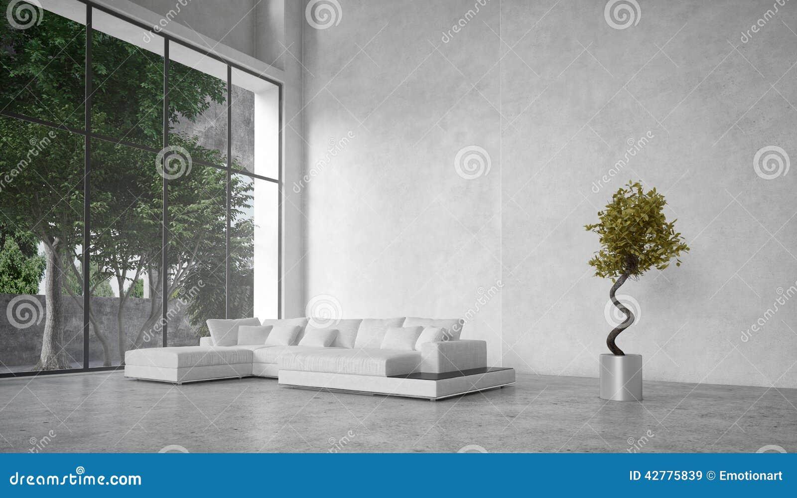 Boom In Woonkamer : Grote moderne woonkamer die bomen overzien stock illustratie