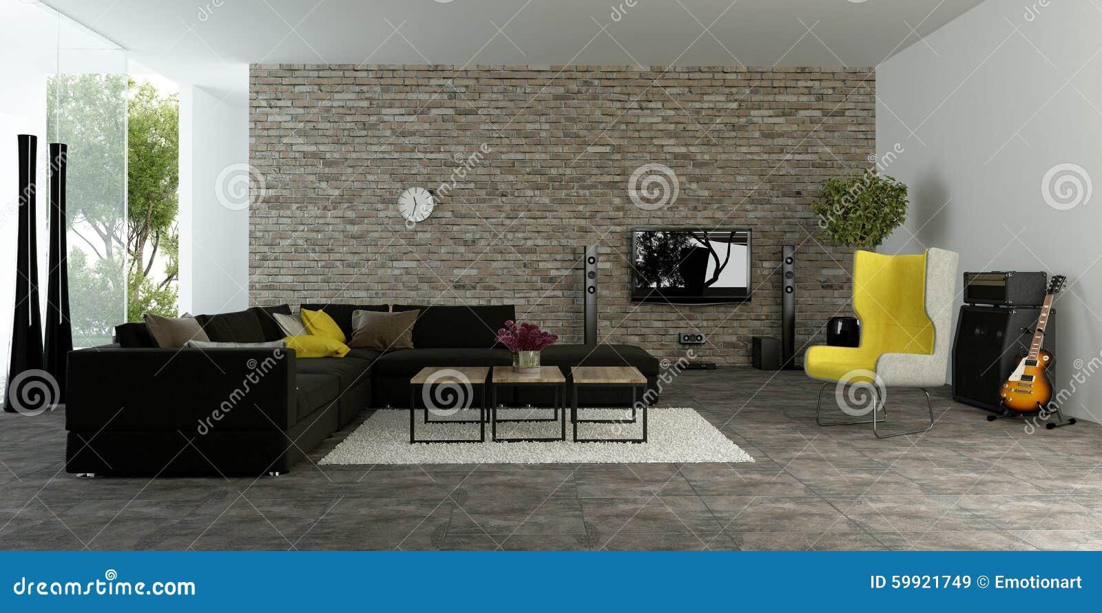 Grote moderne woonkamer met geweven accentmuur stock afbeelding afbeelding 59921749 - Woonkamer m ...