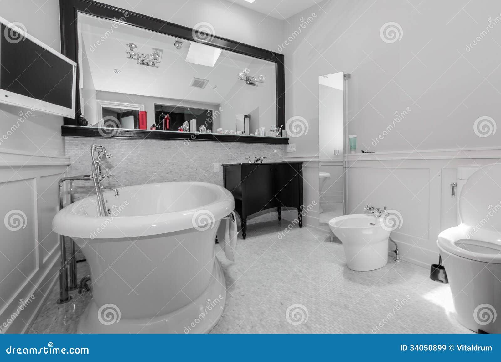 Grote modieuze klassieke badkamers