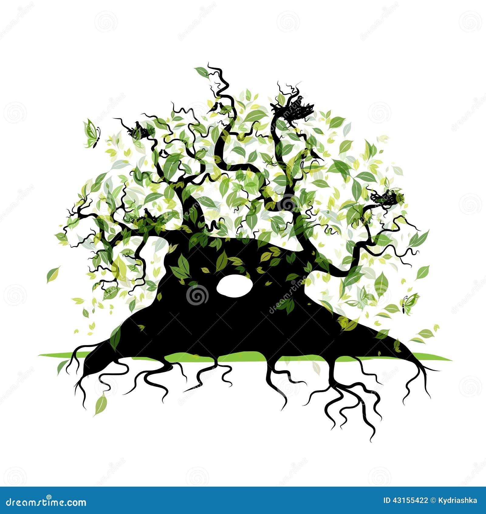 Grote oude boom met wortels voor uw ontwerp vector illustratie afbeelding 43155422 - Boom ontwerp ...