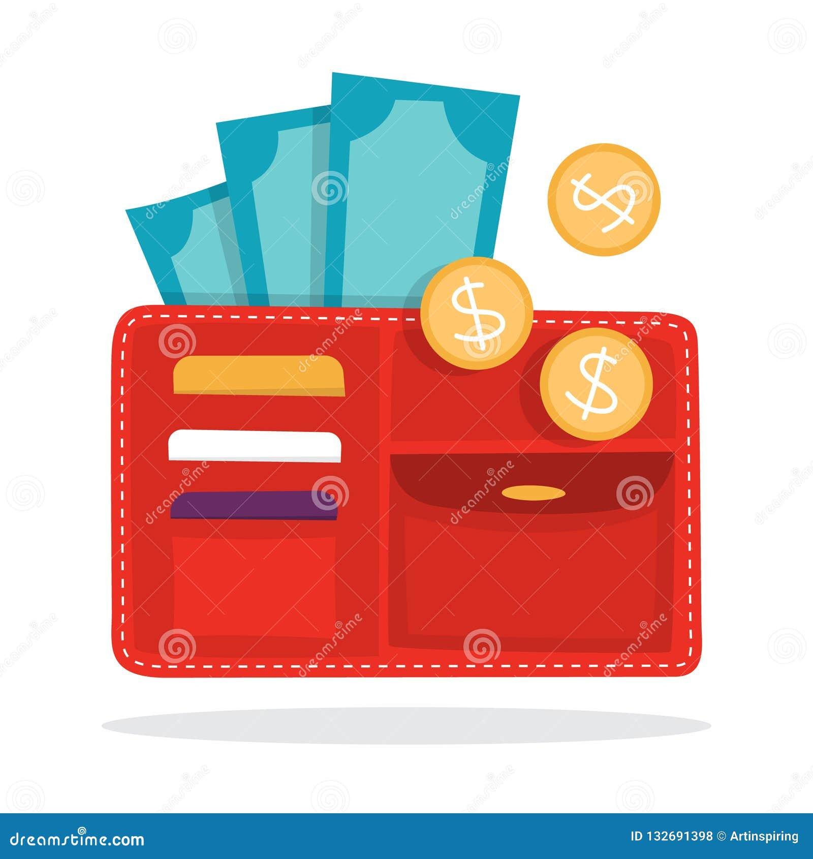 Grote portefeuille met de munt Idee van persoonlijke financiën