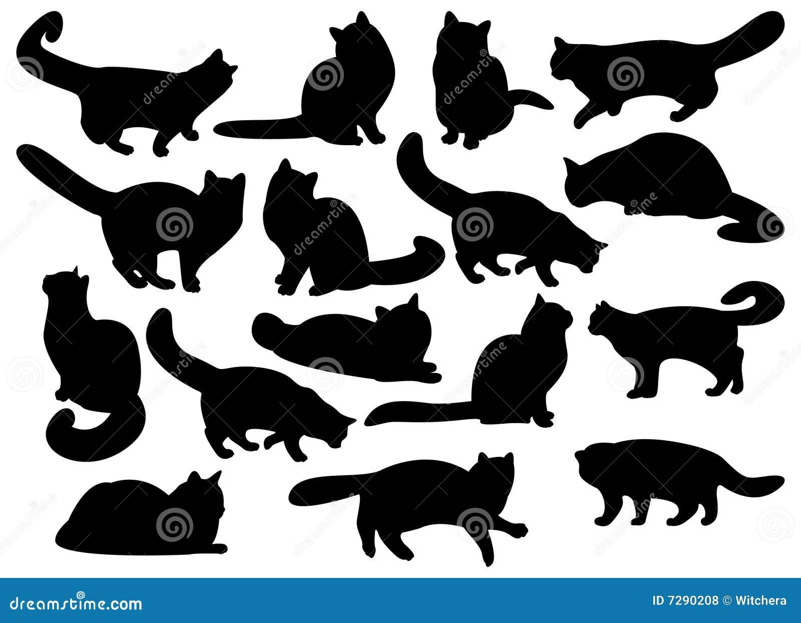 Grote reeks silhouetten van de kat