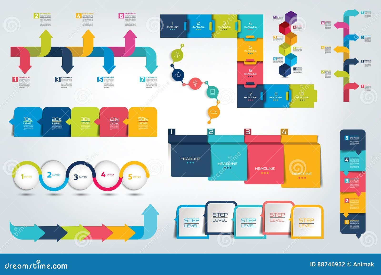 Grote reeks van Infographic-chronologierapport, malplaatje, grafiek, regeling
