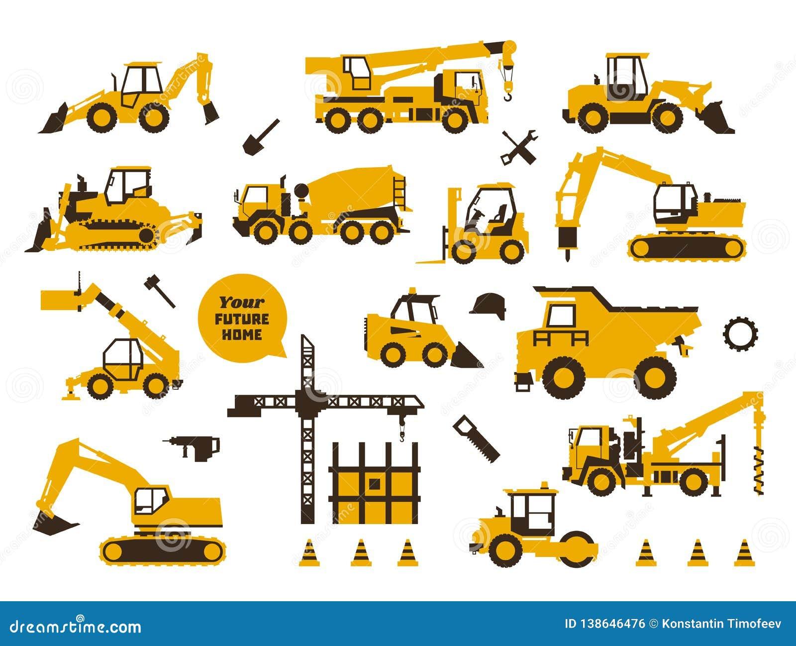 Grote reeks van pictogrammenbouwwerkzaamheid Bouwmachines, speciaal vervoer Zware apparatuur Vrachtwagens, kranen, tractoren