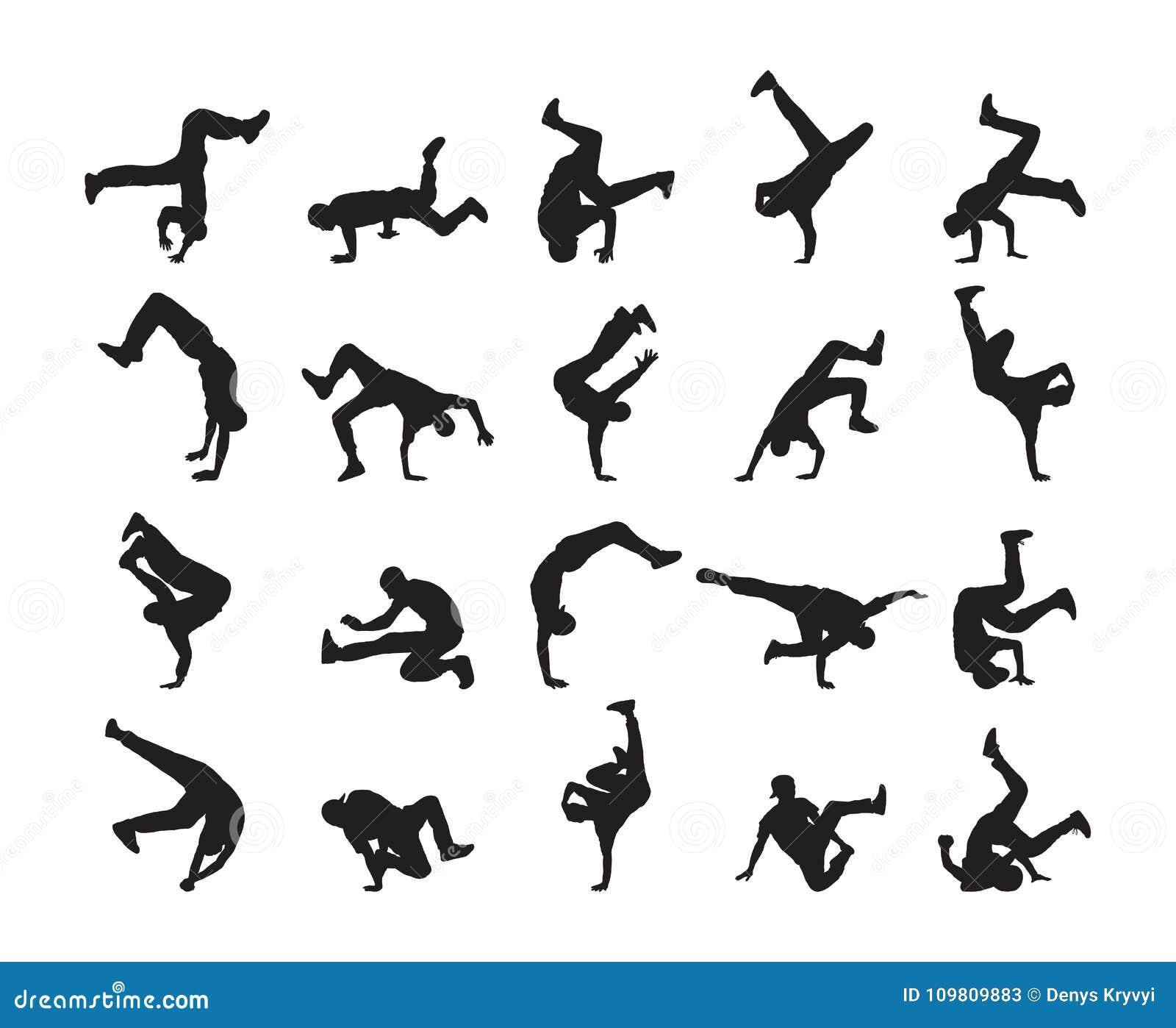 Grote reeks van Silhouet van expressieve onderbrekingsdans Jongeren het dansen van Hip Hop op witte achtergrond