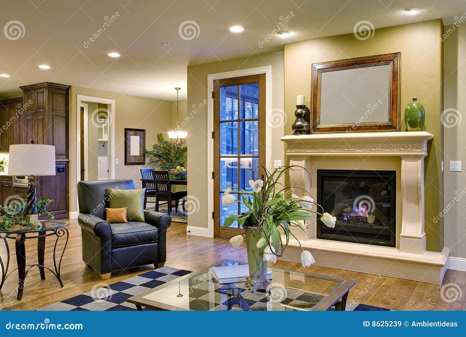 Keuken Grote Open : Grote ruimte met open haard en mening van keuken stock afbeelding