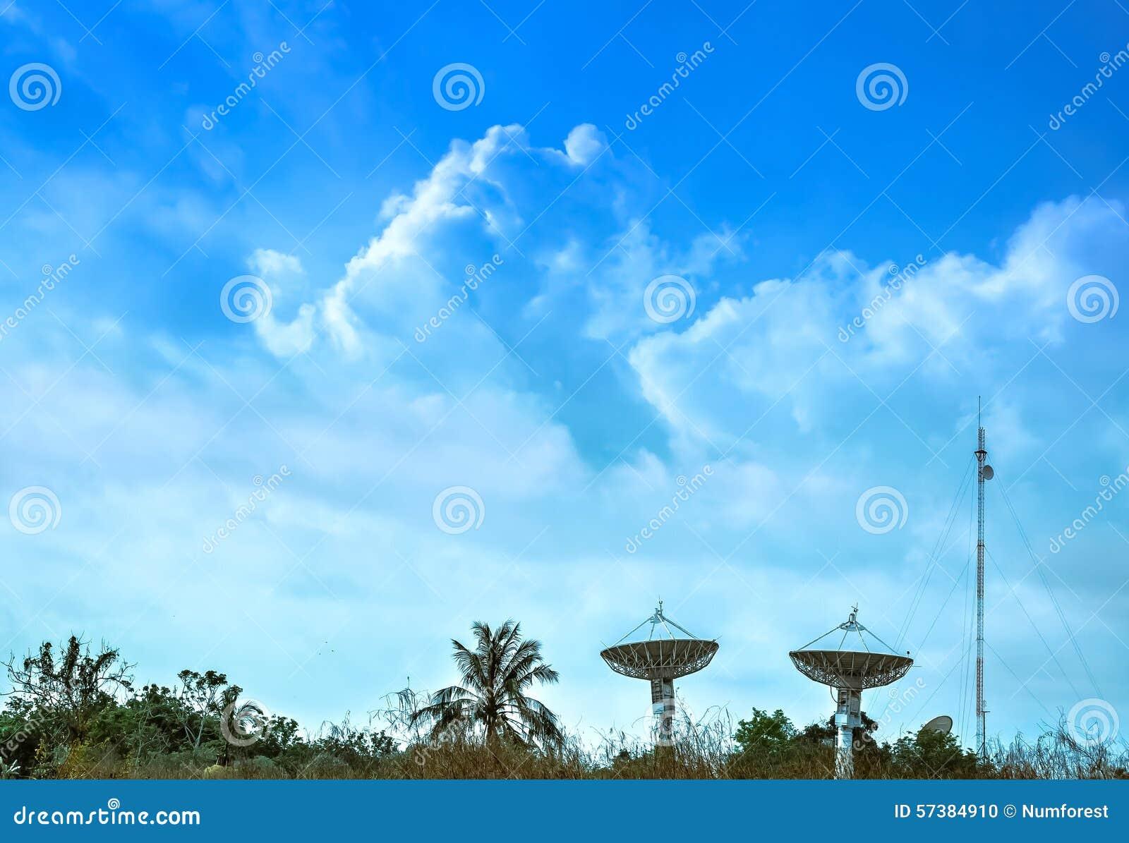 Grote satellietschotel twee met mooie wolken