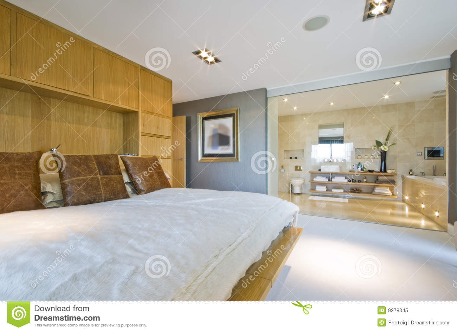 Grote slaapkamer met engelse reeksbadkamers stock for Chambre avec salle de bain 15m2