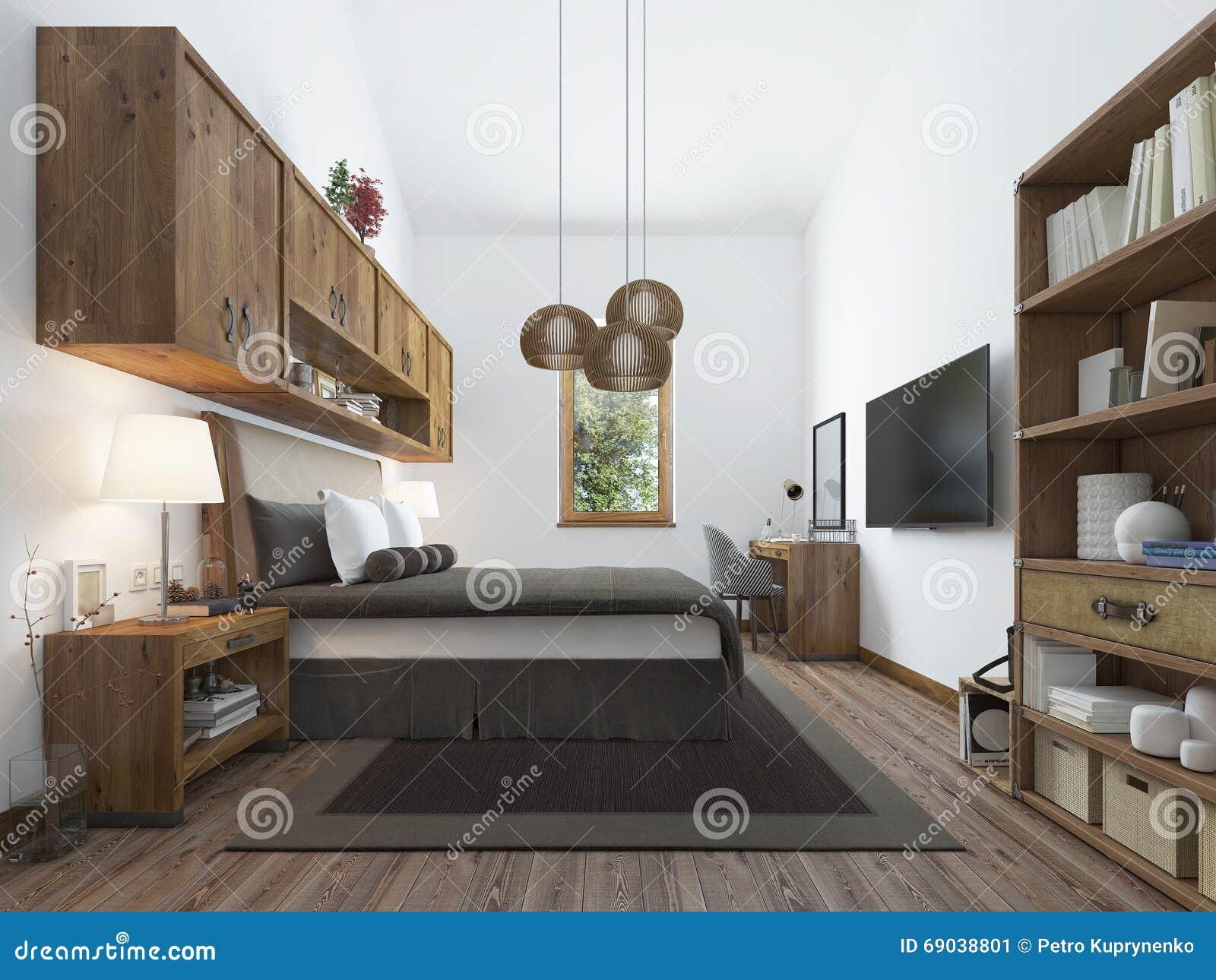 Grote slaapkamer in moderne stijl met elementen van een rustieke ...