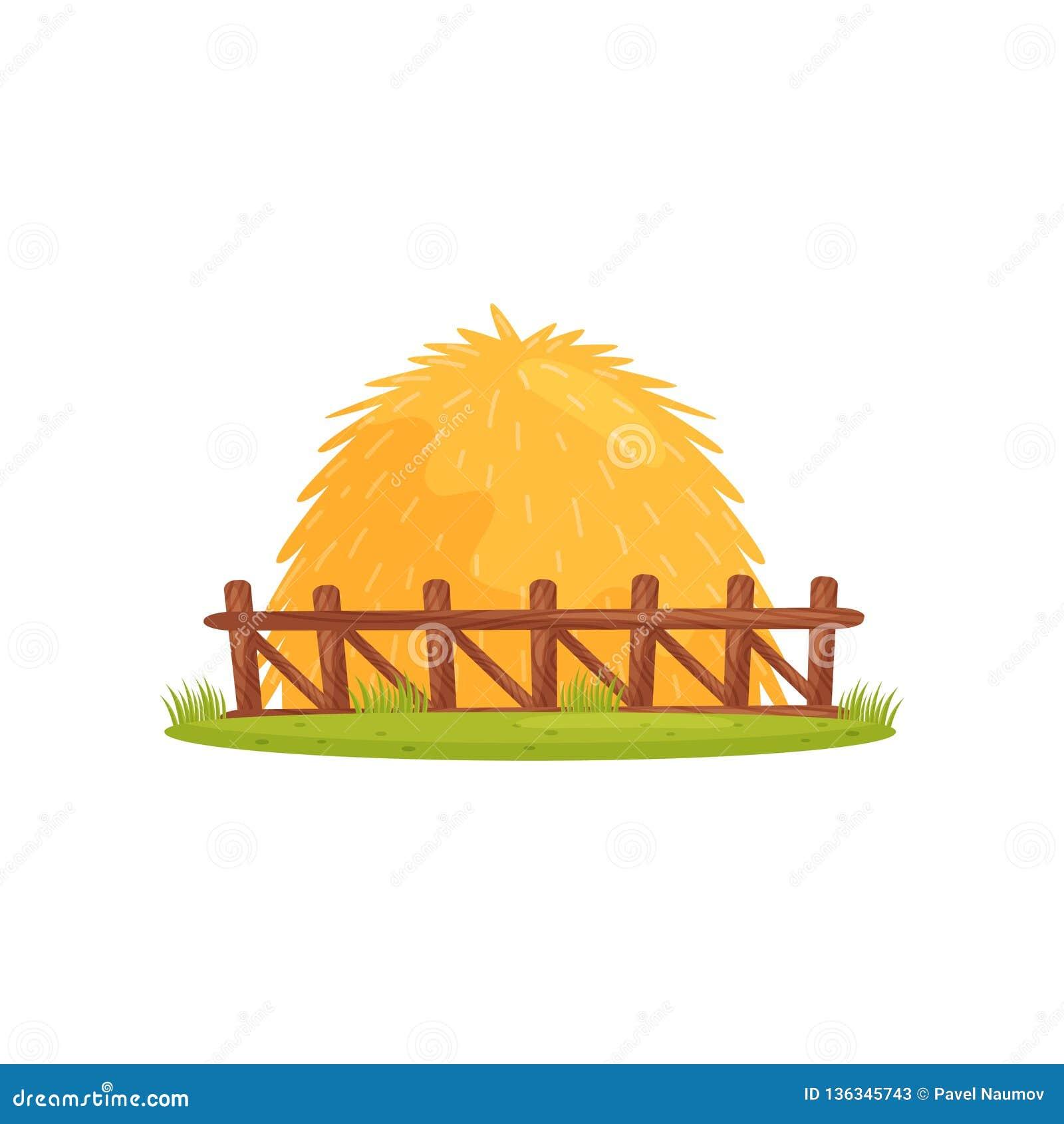 Grote stapel van droog hooi achter houten omheining Landbouwbedrijfthema Beeldverhaal vectorontwerp voor kinderenboek of mobiel s