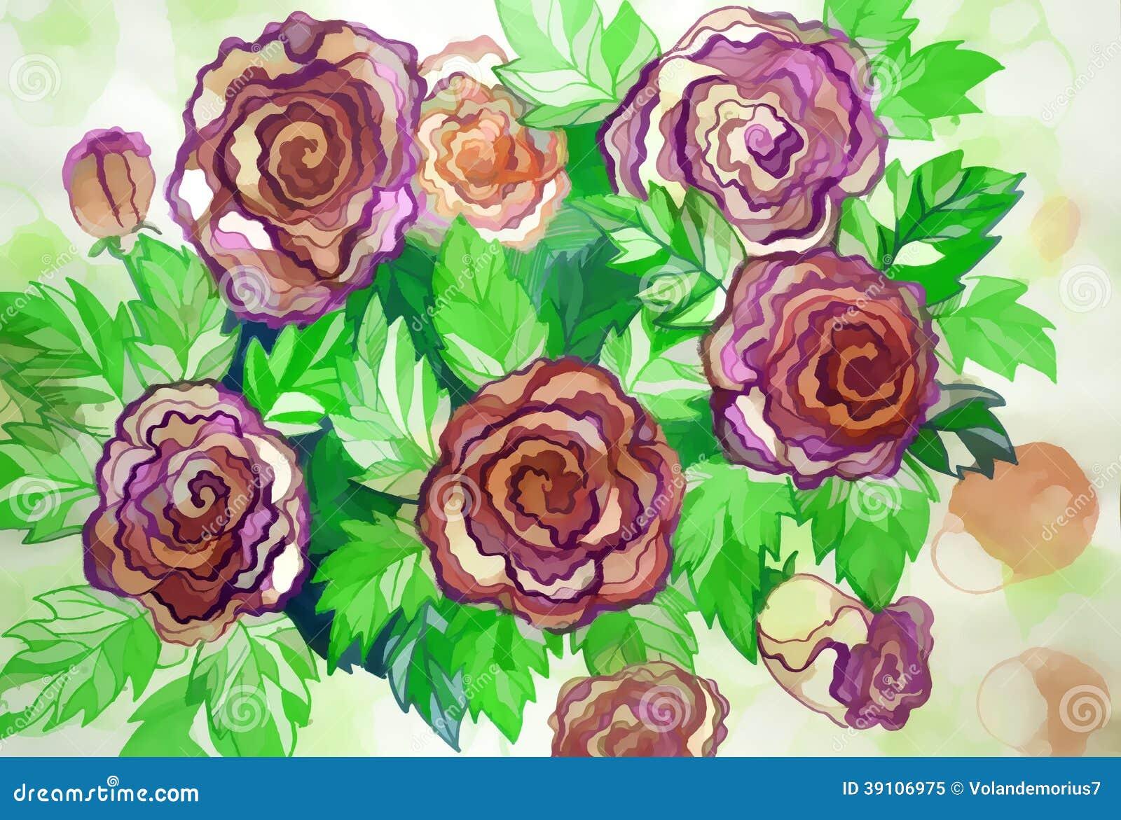 Grote struikrozen geschilderde kleuren