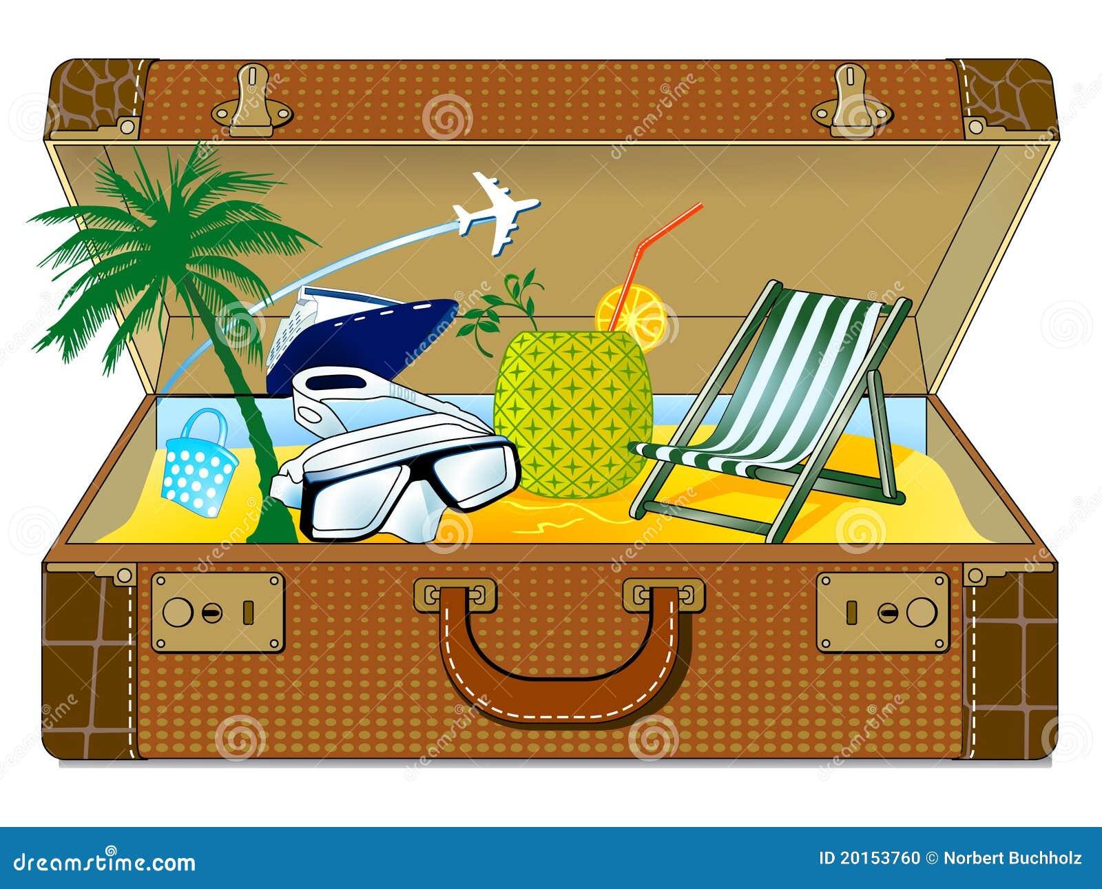 Grote vakantiekoffer vector illustratie afbeelding - Dessin de vacances ...