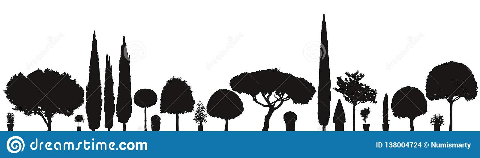 Grote verscheidenheid van vectorinstallaties en bomen