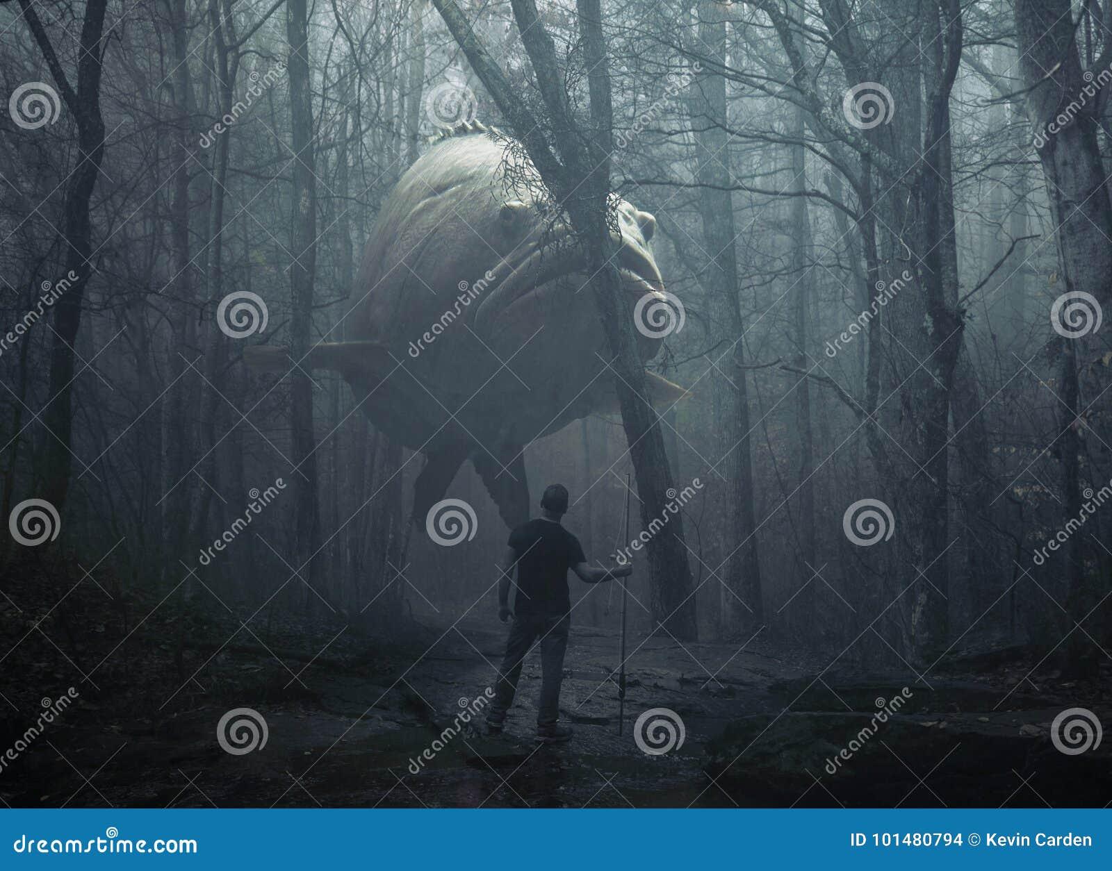 Grote vissen in het bos