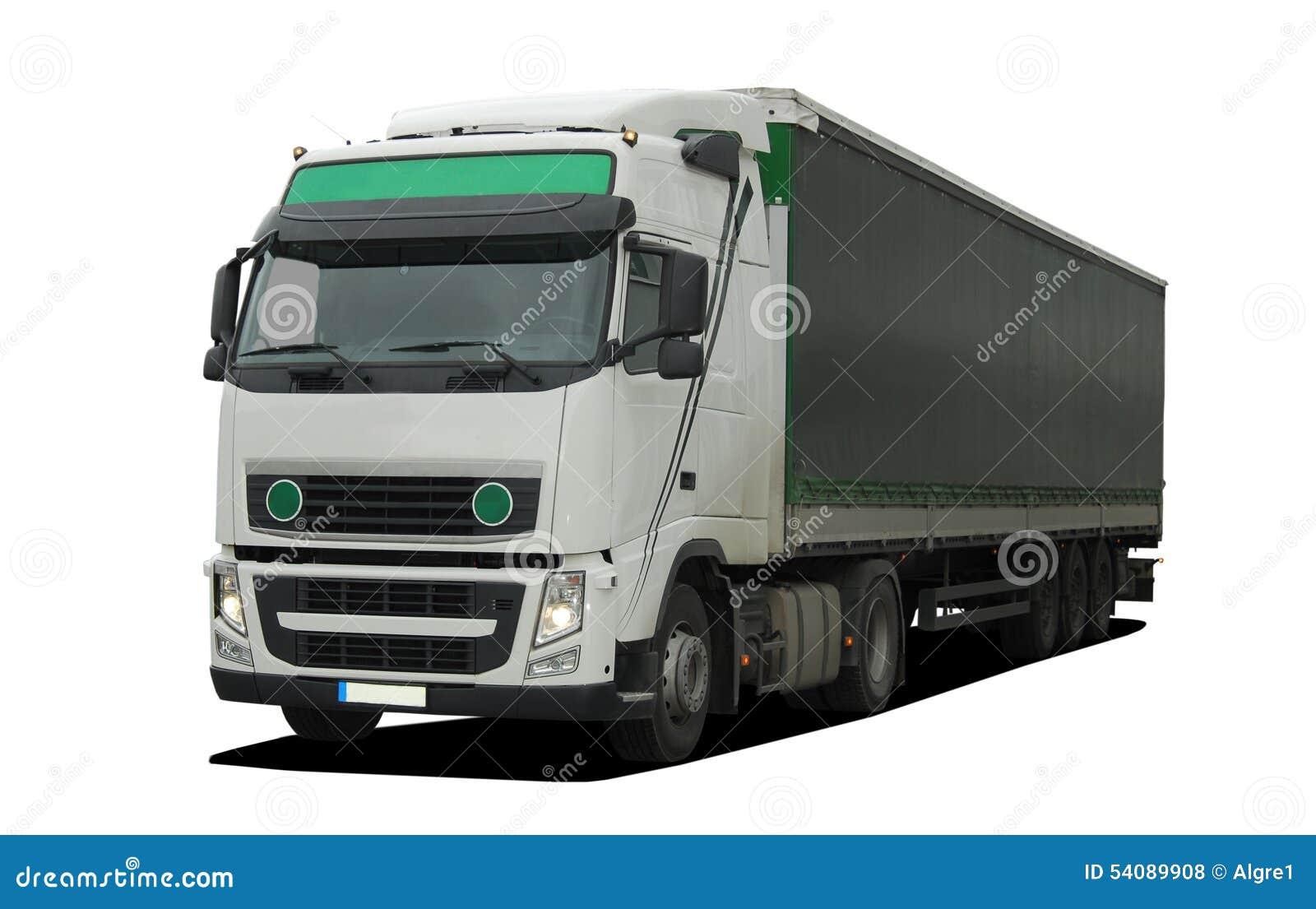 Grote vrachtwagen met semi aanhangwagen