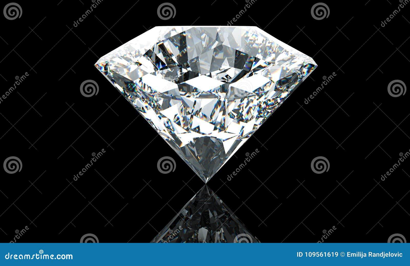 Grote witte die diamant op zwarte achtergrond wordt geïsoleerd