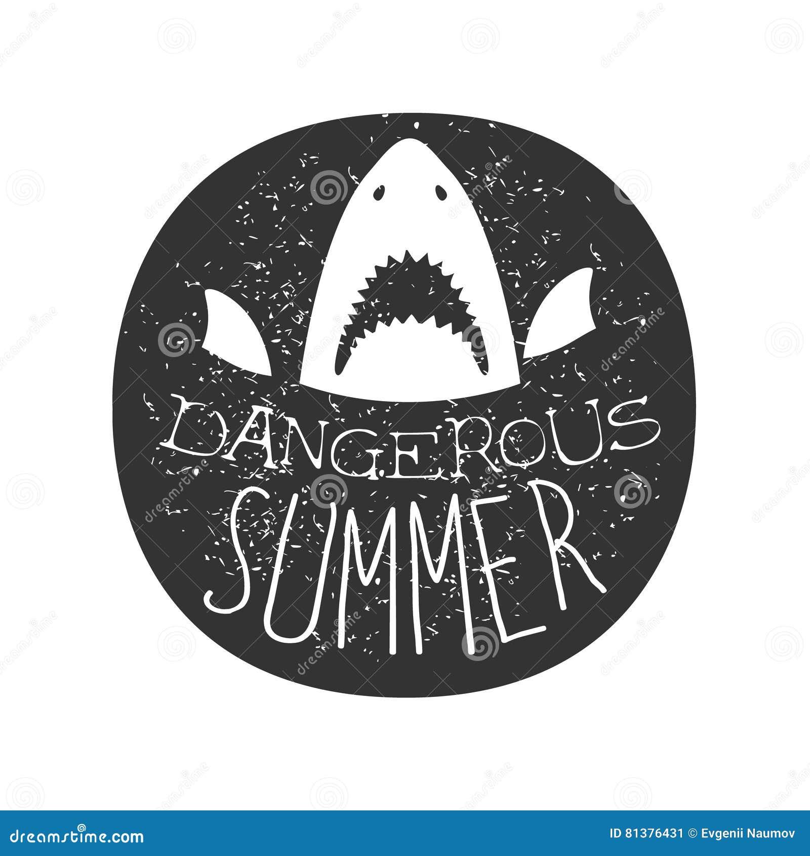 Grote Witte Haai met de Open van de de Brandingsclub van de Mondzomer Zwart-witte Zegel met Gevaarlijk Dierlijk Silhouetmalplaatj