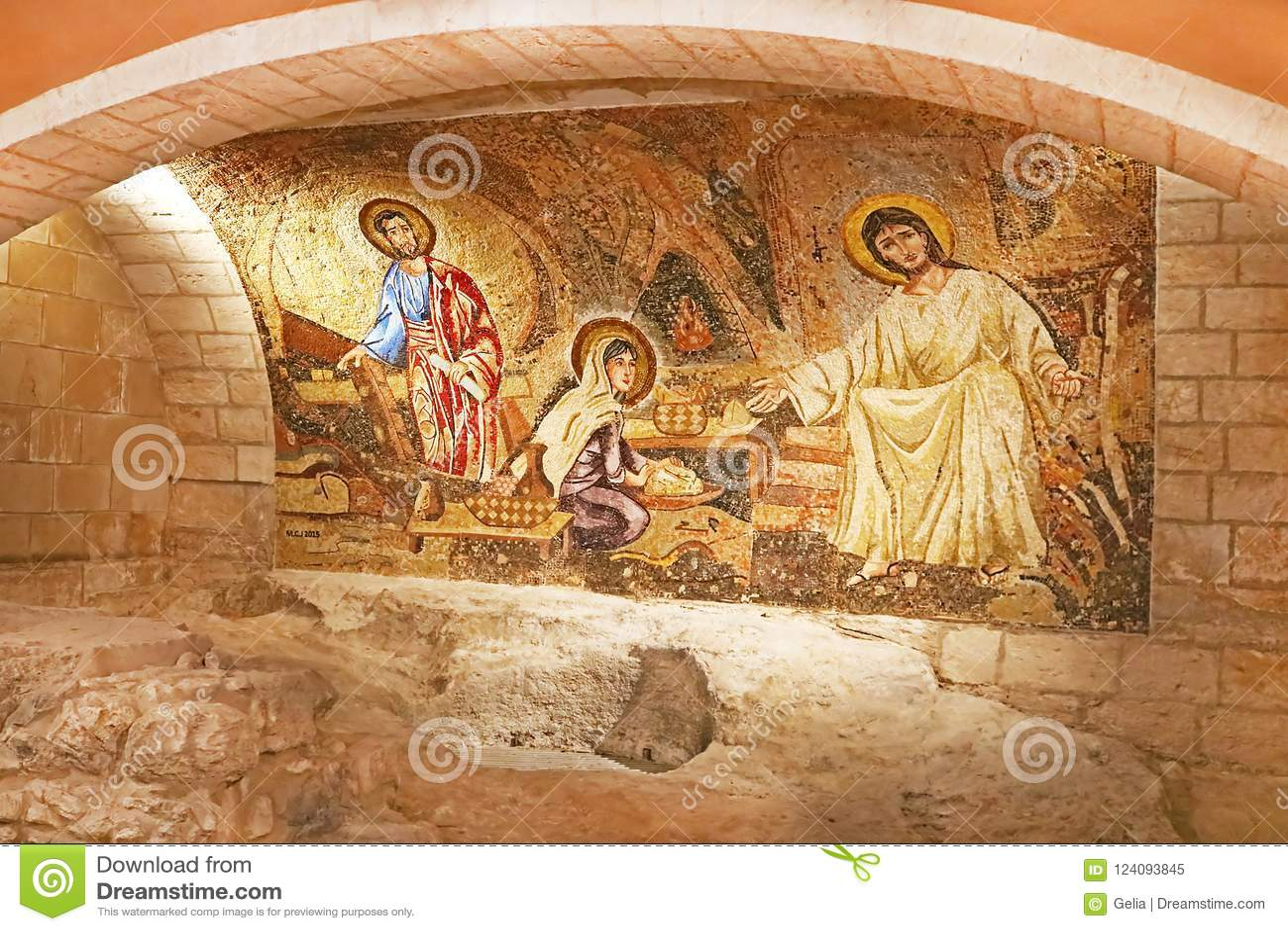 Grotto with Jesus mosaic in Saint Joseph Church, Nazareth