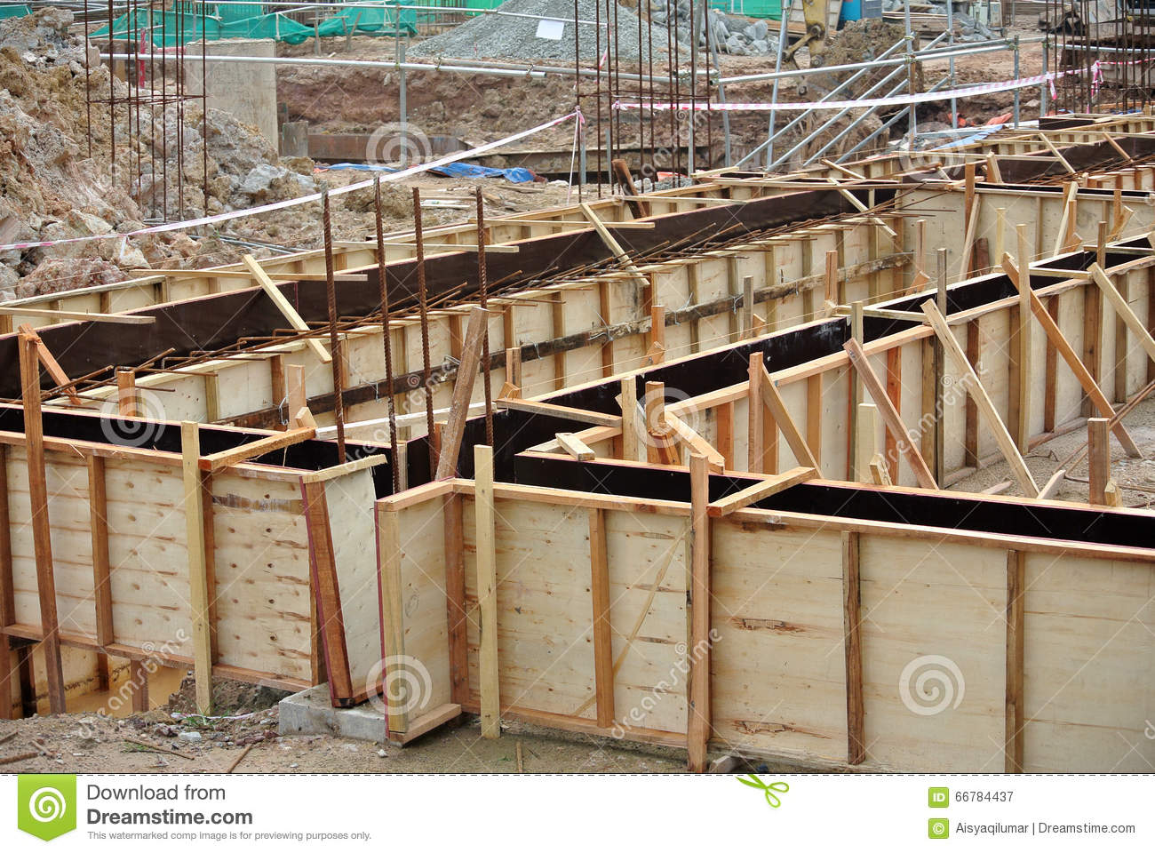 Ground Beam Form Work At The Construction Site Stock Image - Image