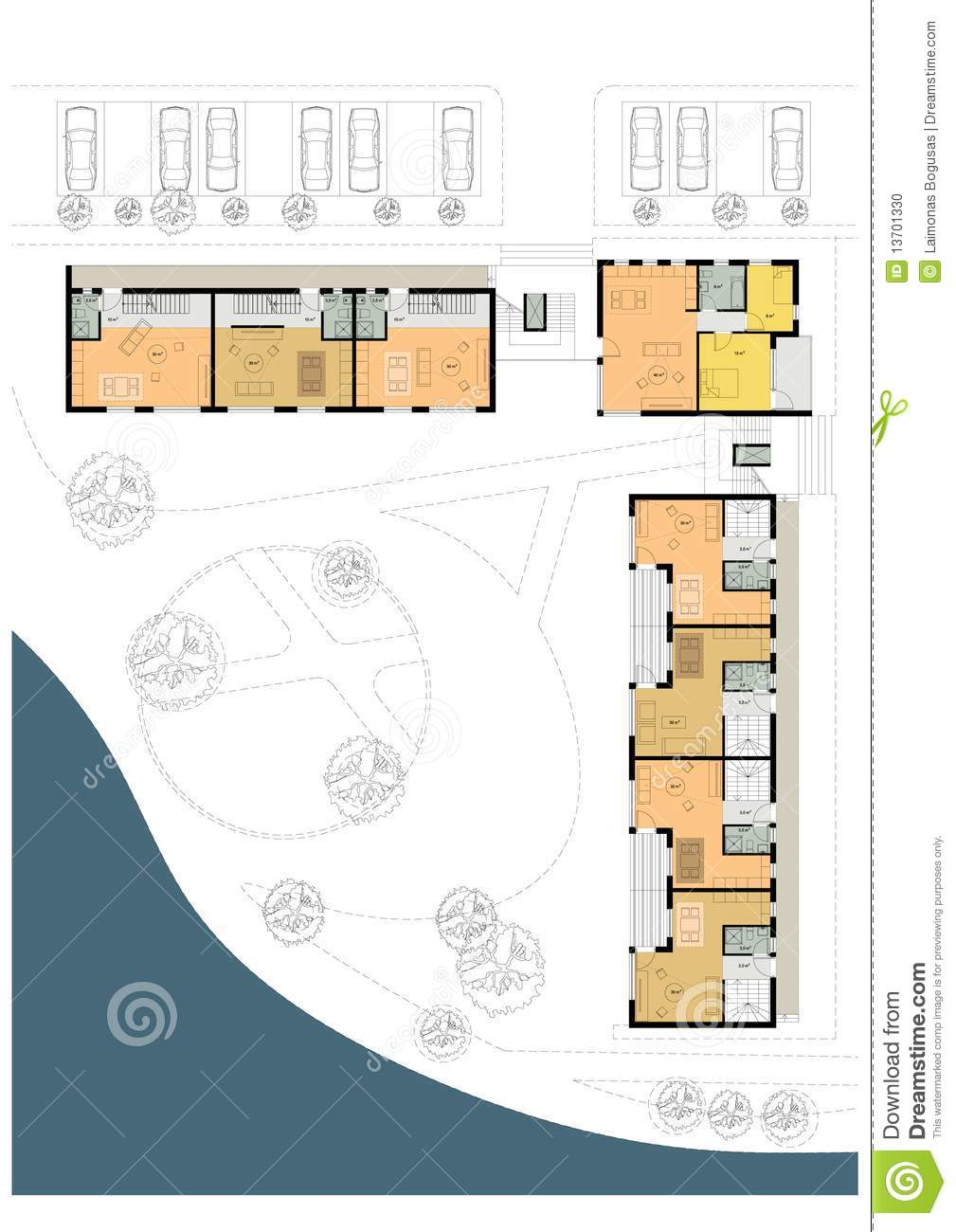 Ground floor plan of the living house or hotel stock Ground floor house plans
