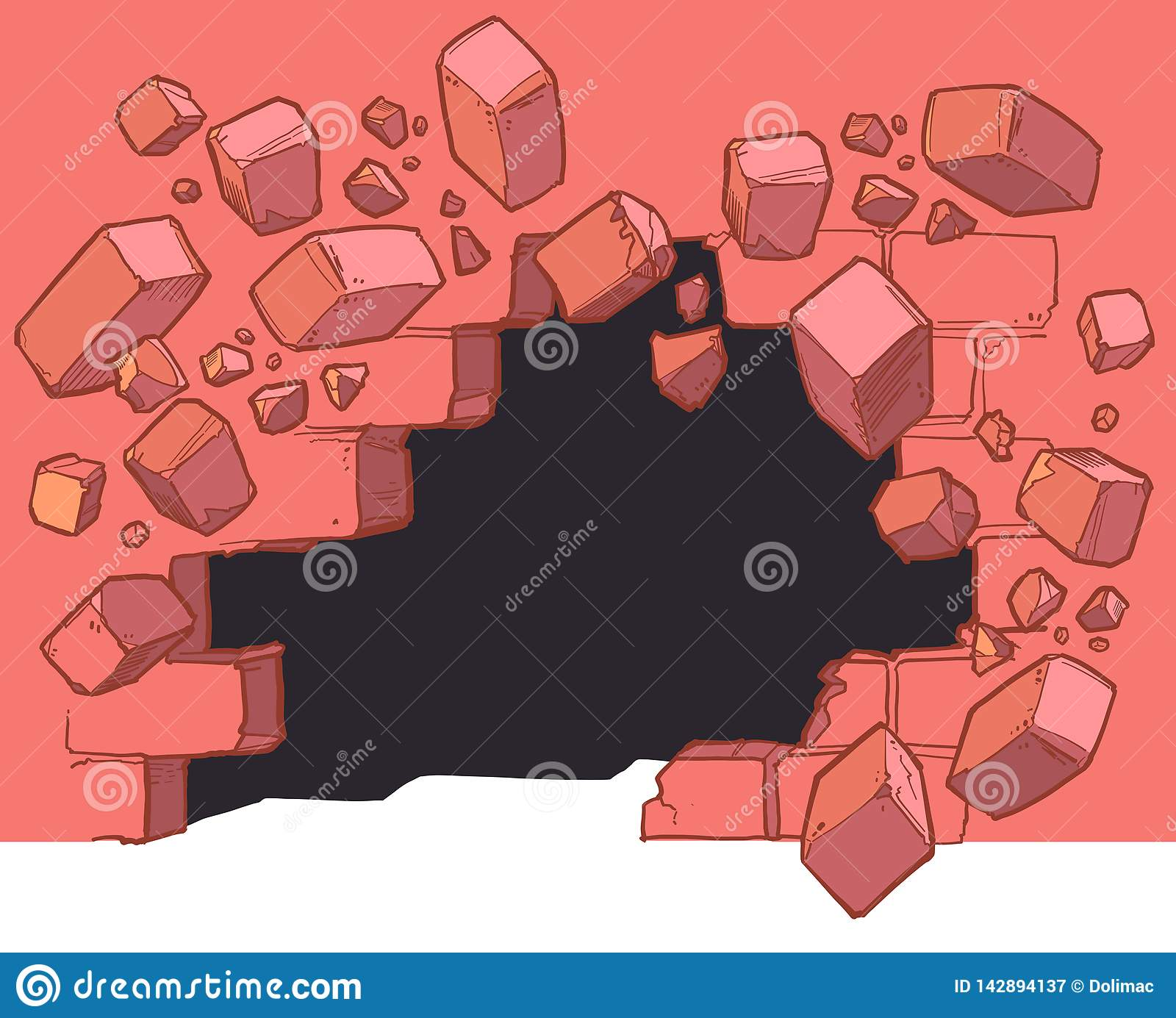 Ground Level Hole Breaking Through Red Brick Wall