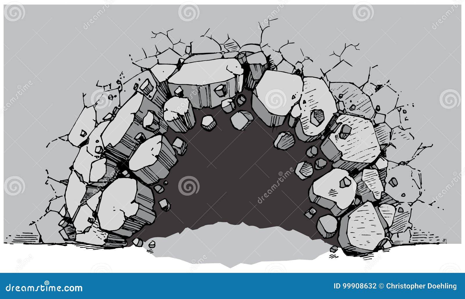 how to break up old interlock brick into rubble