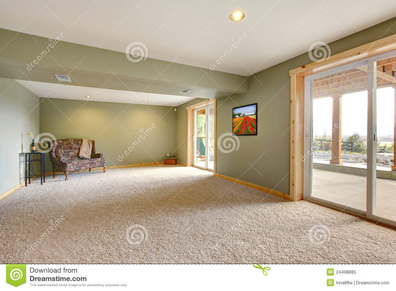 Ground Level Large New Living Room With Green Walls