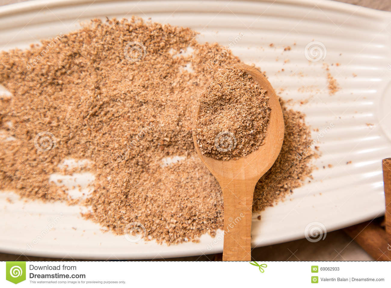 Ground Nutmeg Spices In A Ceramic Plate Stock Image - Image of ...