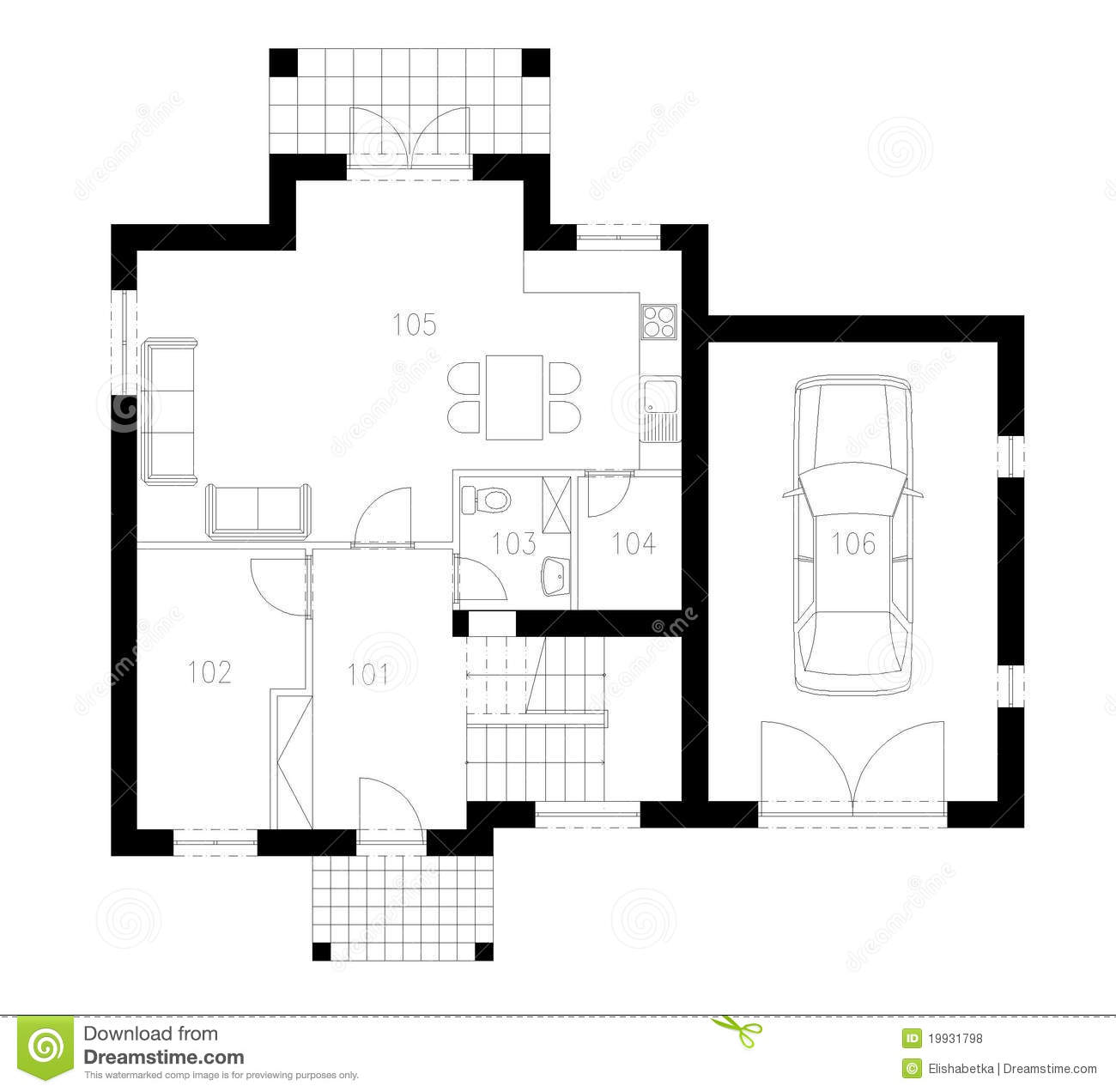 Ground plan of flat building royalty free stock photos for Plan of a flat