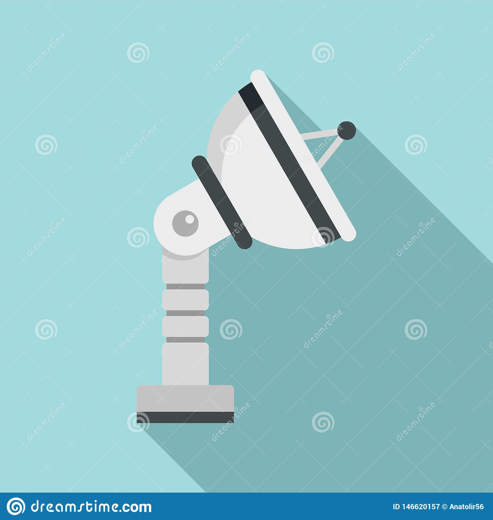 Ground satellite antenna icon, flat style