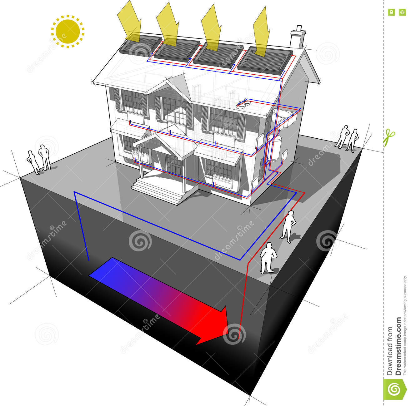 Alternative heating ground source system vector for Alternative heating systems for homes