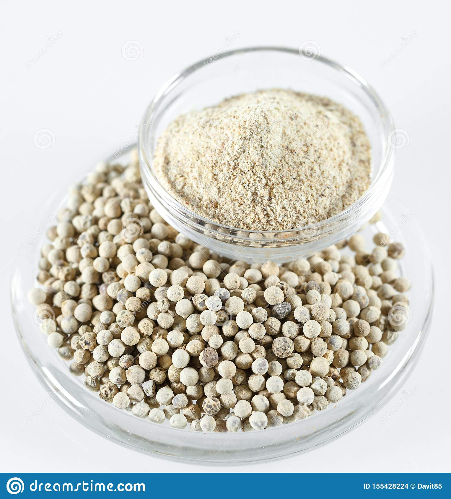 Ground White Pepper Isolated on the white background.