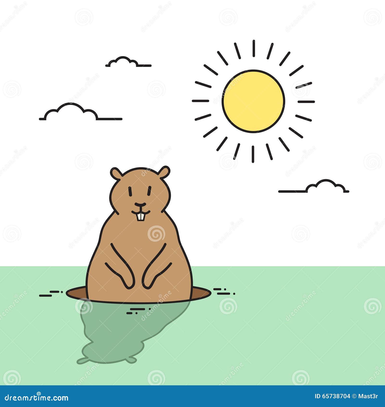 groundhog day animal wake up spring holiday stock vector image