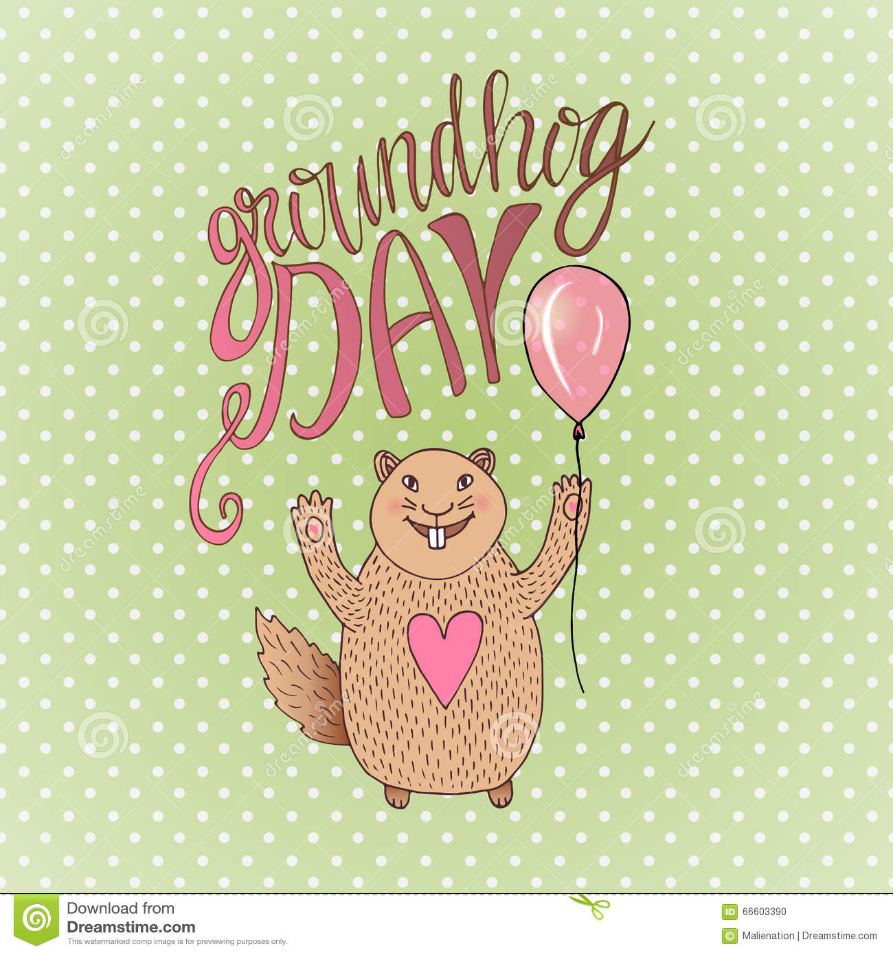 Groundhog Day Gift Card Hand Drawn Beautiful Smiling Hamster