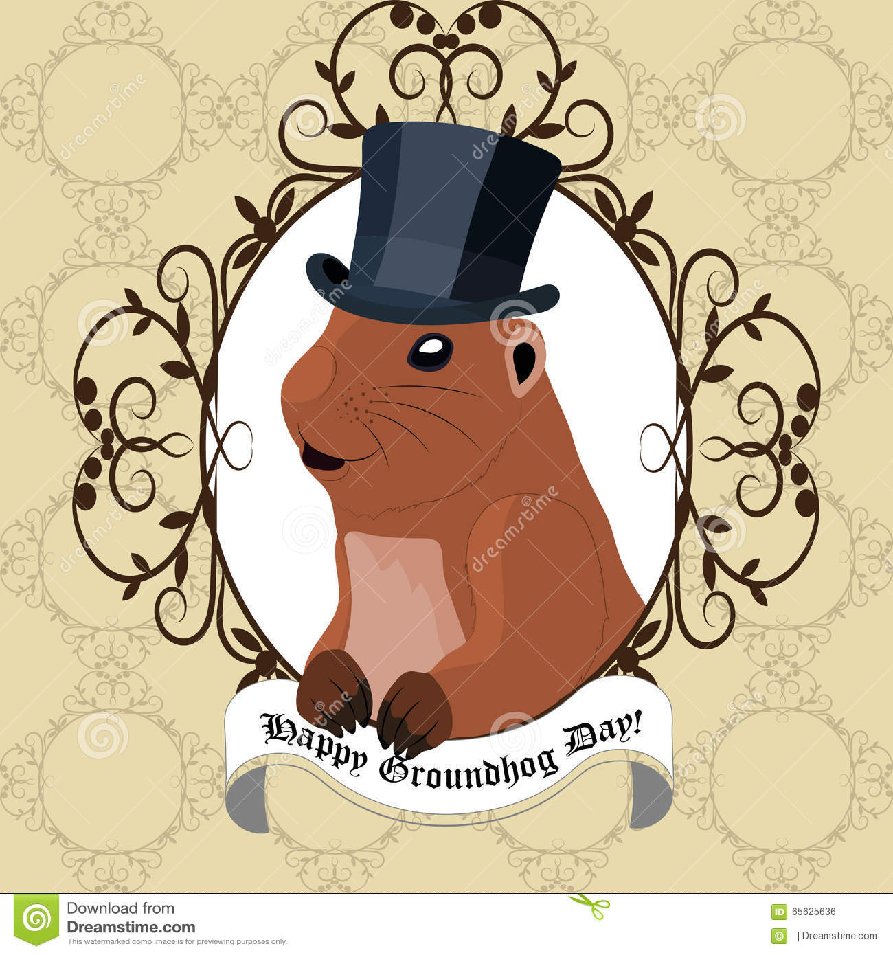 groundhog day greeting card with cute marmot in black hat stock