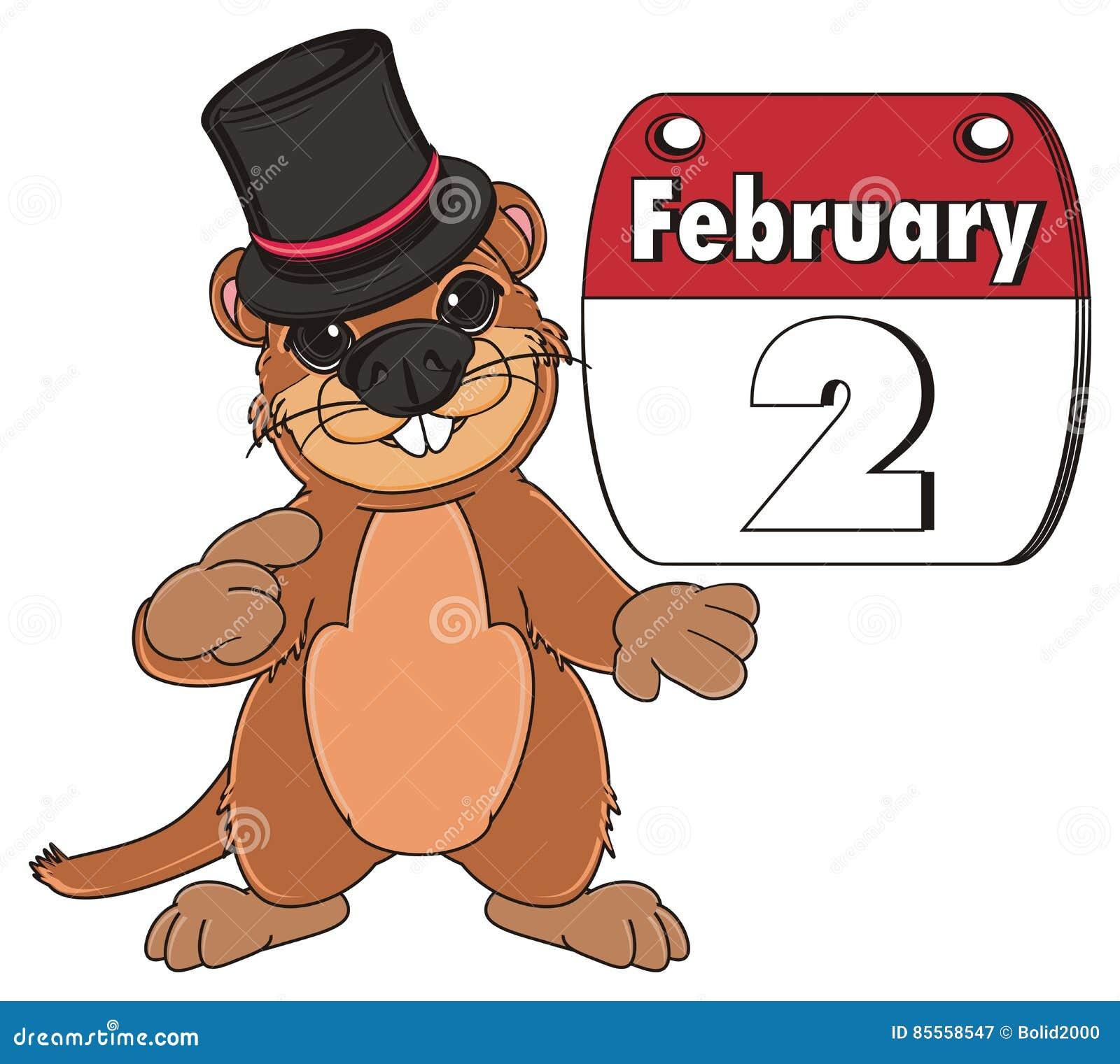 Groundhog im Hut und mit Kalender