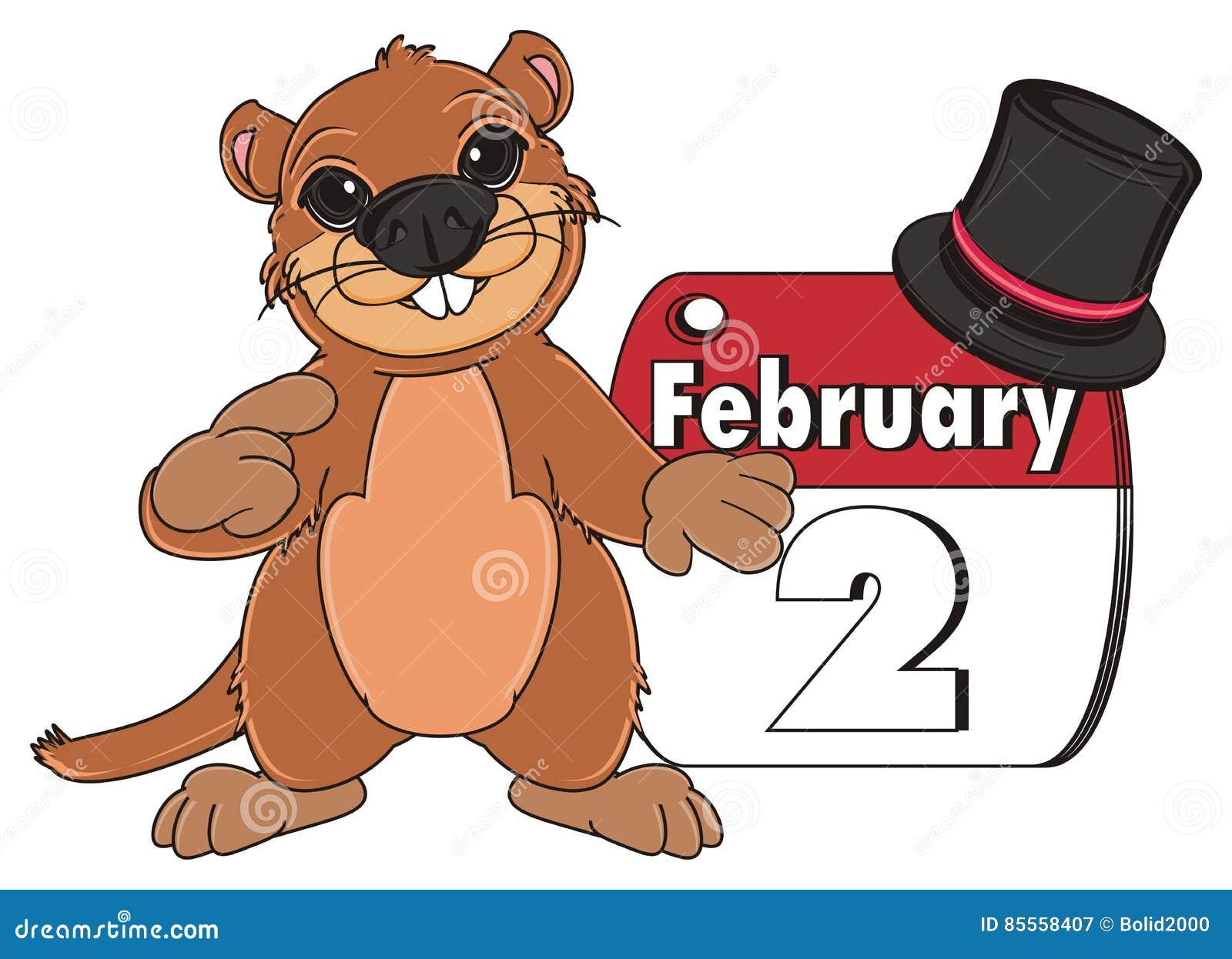 Groundhog mit Hut und Kalender
