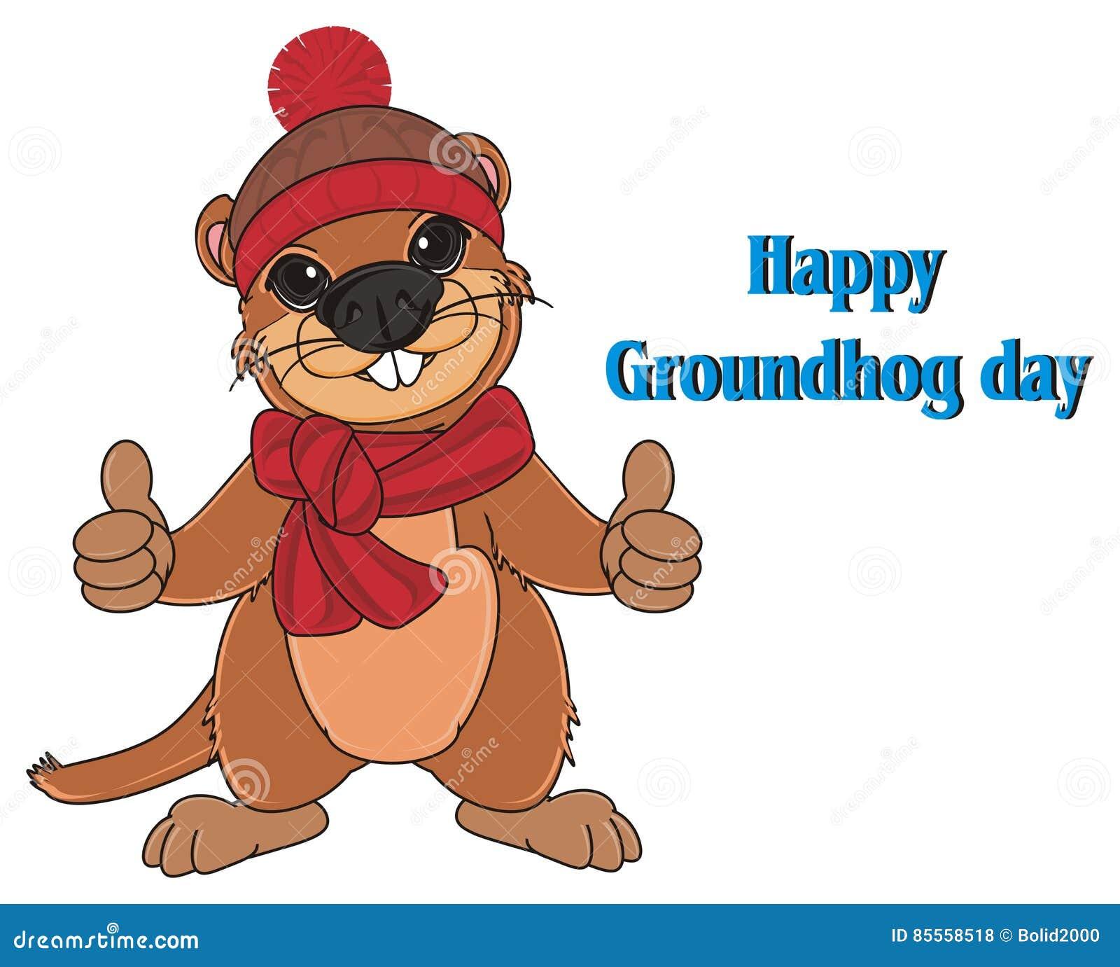 Groundhog und blaue Aufschriften