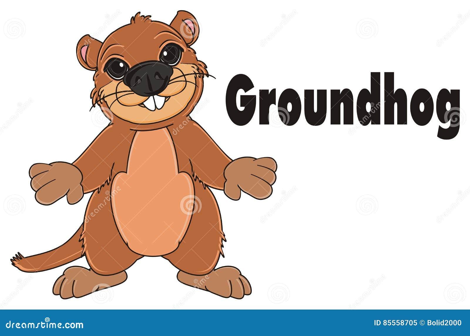 Groundhog und schwarze Zeichen