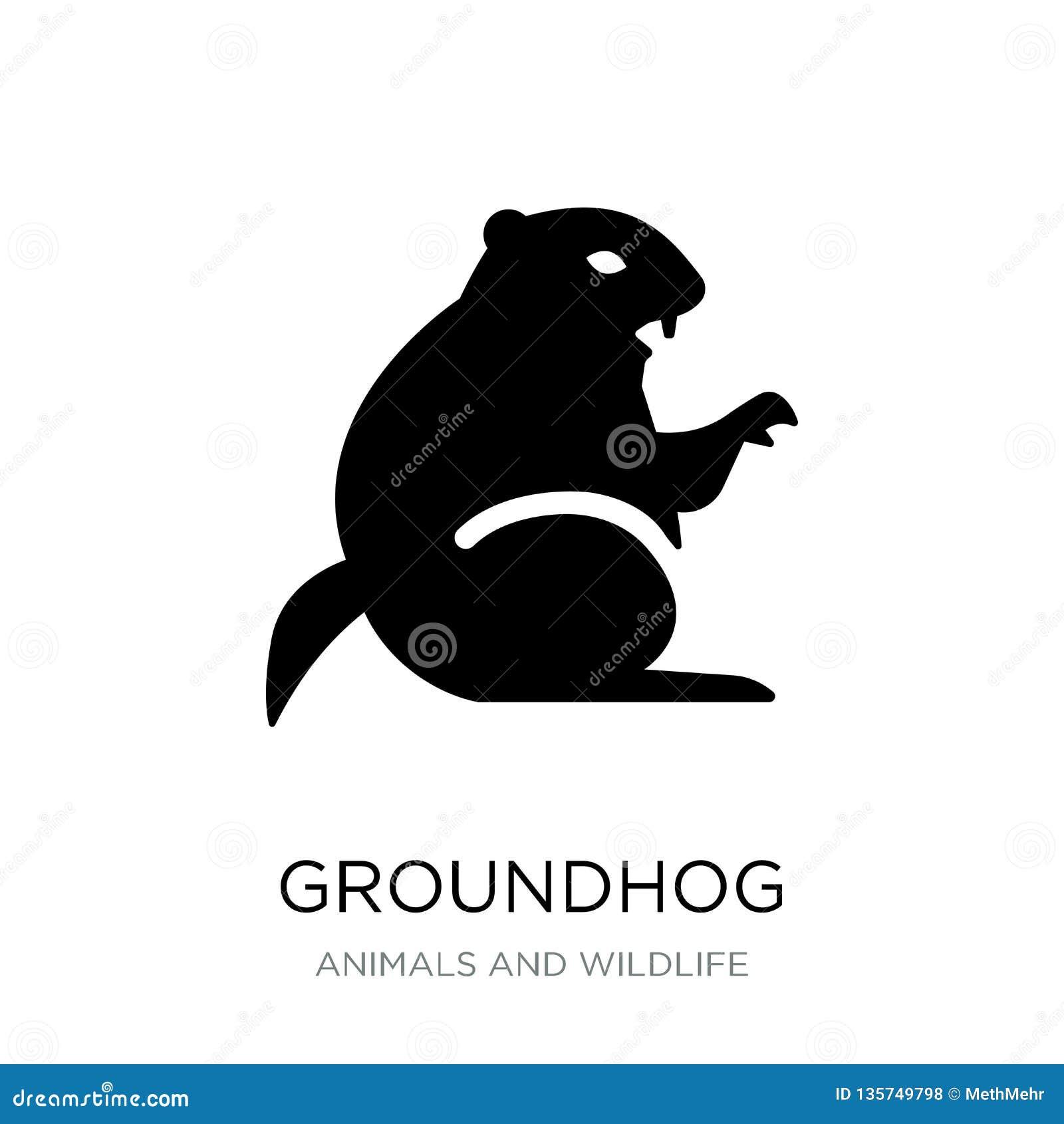 Groundhogsymbol i moderiktig designstil groundhogsymbol som isoleras på vit bakgrund enkel och modern lägenhet för groundhogvekto