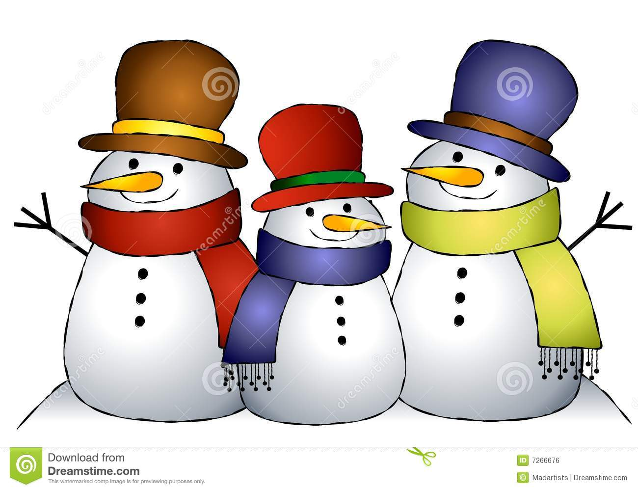 An illustration featuring a group of 3 snowmen huddled together.
