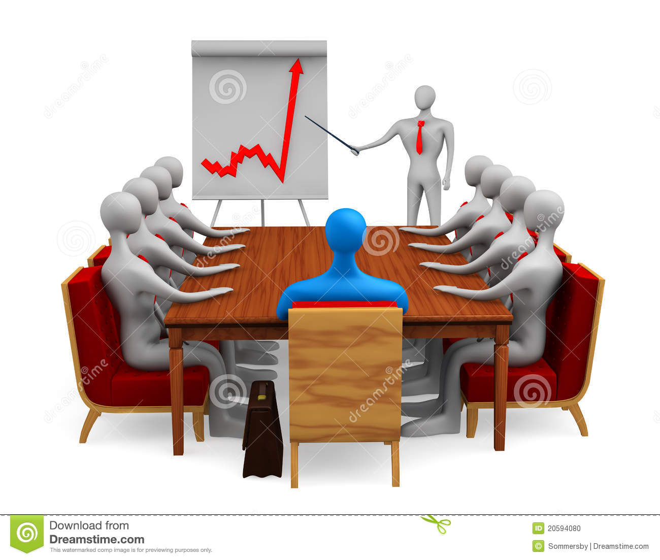 Group Of 3d Persons On The Meeting Stock Photo - Image ...
