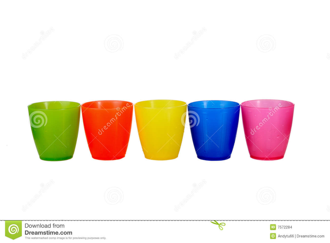 Group Of 5 Five Colored Plastic Cups Stock Images - Image: 7572284