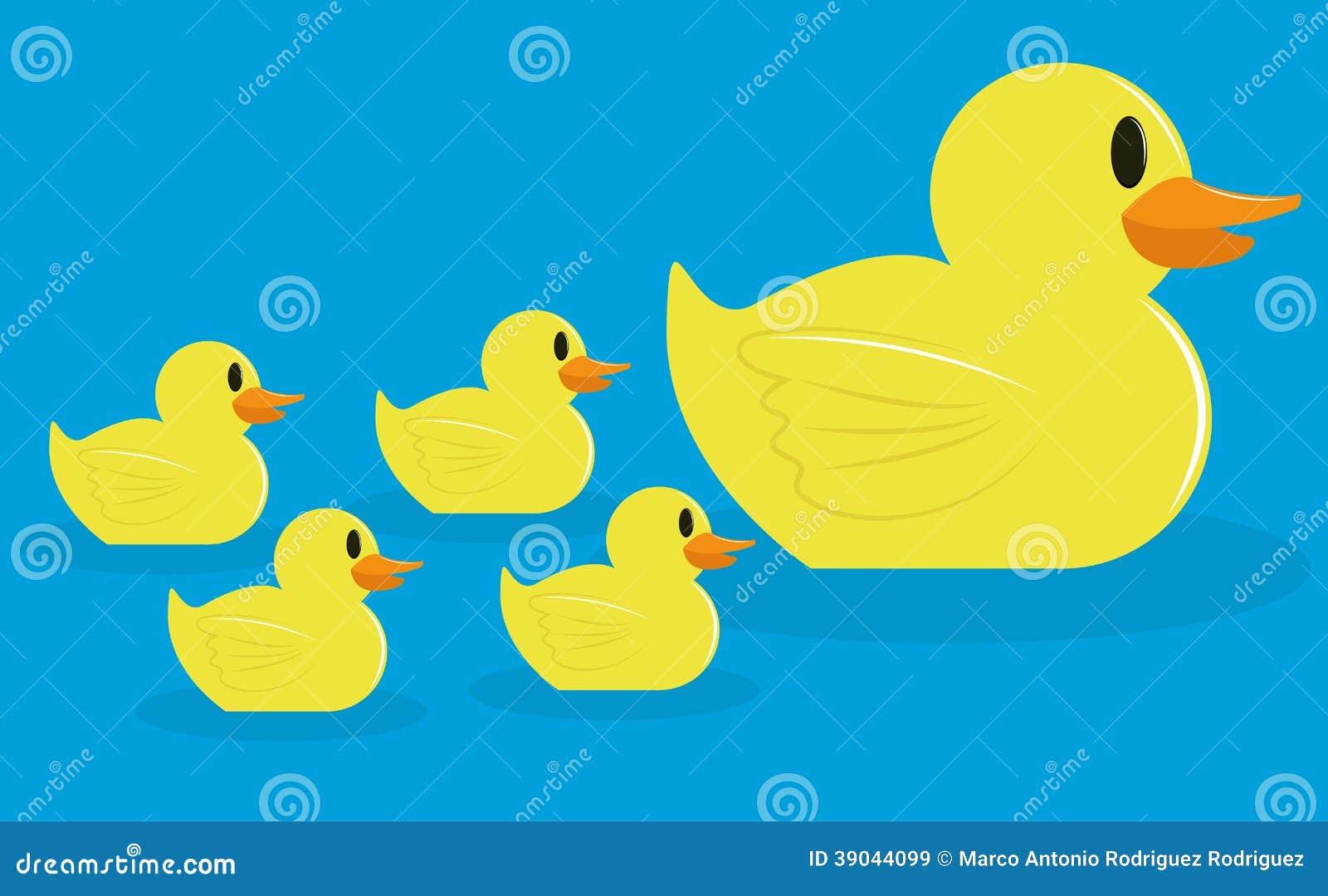 Group Of Adorable Cartoon Ducks Isolated Stock Vector