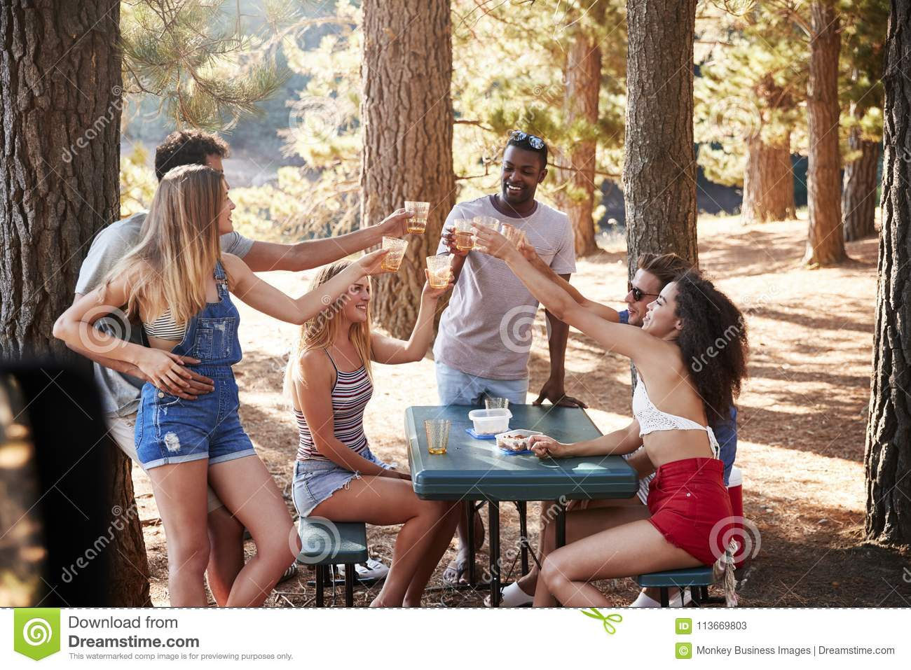 Group of adult friends hanging out by a lake making a toast