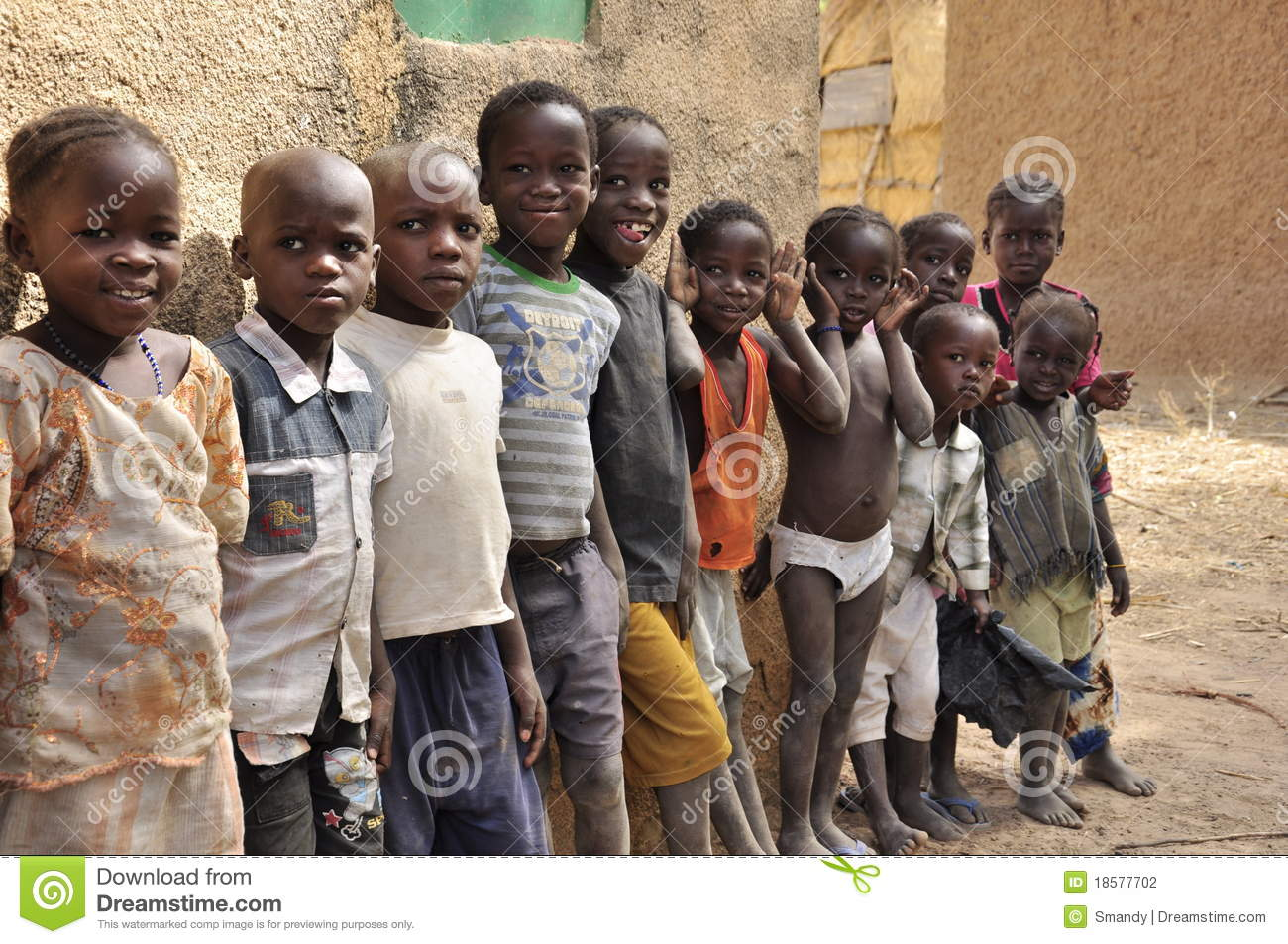 Group of very cute black children refugees west africa
